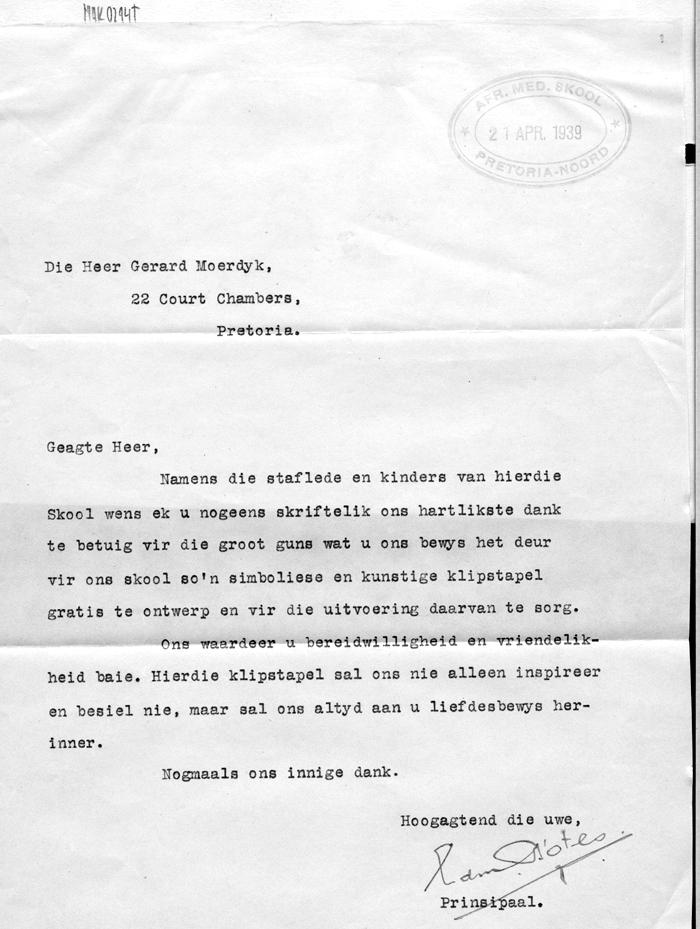 Brief Aan Gerard Moerdijk