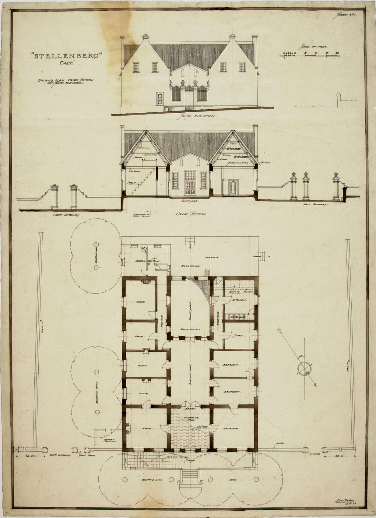 Old cape dutch house floor plans for Cape dutch house plans